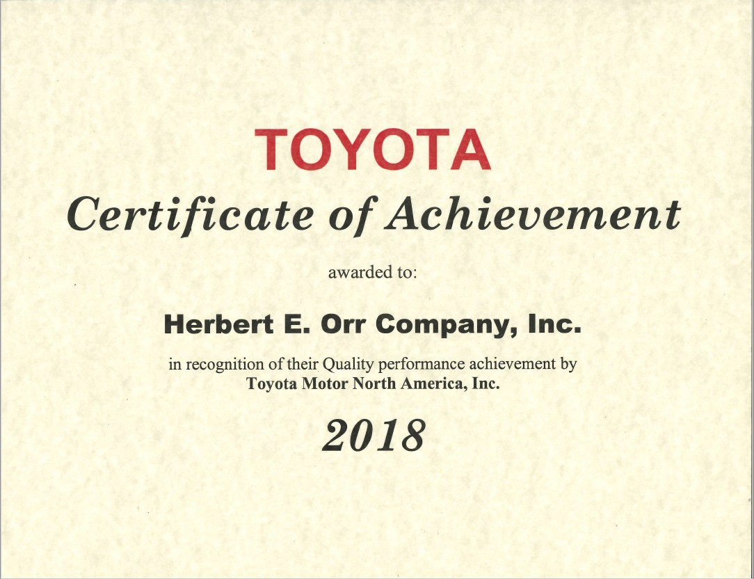 Toyota Quality Certificate Award